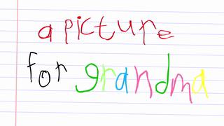 transcript: A picture for Grandma Happy Birthday Grandma