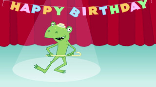 transcript: If Freddy the dancing frog fails to bring you some birthday cheer...