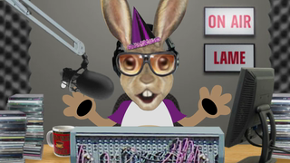 transcript: Voice:  ''Birthday 101!'' The only radio station just for people celebrating their birthday! I'm Jack Rabbit, the fastest disc jockey in the world! Playing the shortest songs in the world! ''I like cake, I really, really, really, really, really, really, really like cake!'' Birthday 101, and the Sporks! I like cake, in fact you can say, I love cake!  Ok, I'm not in love with cake, I wouldn't marry one! Whooohooooo!!! Birthday 101...!  Jack Rabbit here. Time to slow things down a little bit. Here's a new group called 'The Ungrateful Whiners' ''I hope you get better birthday presents, than I got this year...I got shit!'' Boy...they do seem a little whiny. 'The Ungrateful Whiners' and their up & coming hit: ''I hope you get better birthday presents than I got this year''. Birthday 101...! Well, that's gonna do it for the Jack Rabbit show. Time for me to hop out of here and make way for Tony Turtle!. Wait a minute...I know I'm forgetting something here... Oh Yeeahh...Have a Happy Birthday! Whooohooooo!!!    Text:  Happy Birthday!