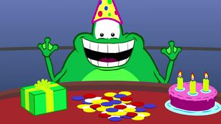 transcript: Een kikker kan zijn pokerface niet strak houden als hij de verjaardags-jackpot trekt.