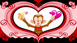 transcript: Be mine Ask me True love Yes dear Kiss me I like bananas Do you have any bananas I hired someone to help me with this valentine. Mmm, bananas But that someone turned out to be one love sick little monkey! Monkey business aside, I'm bananas for you! Happy Valentine's day!