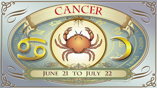 transcript: CANCER June 21 to July 22 Ruling planet: Moon Element: Water Lucky color: Silver Lucky Gemstone: Pearl Lucky Numbers: 4 and 6 You are wise savvy and sweet. You have a keen imagination, appreciate art and literature, and can be hopeless romantics. Watch out for mood swings! May the dreams of your heart and soul be fulfilled! Happy Birthday!
