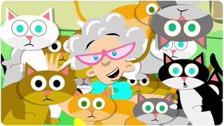 transcript: Voice:  Why hello there! I'm Cora, the cat lady!  I hope you're having a wonderful birthday. I like to have birthday parties for my cats!  I loooove cats! Cats of all kinds! Black ones, orange ones, white ones, grey ones! brown ones, green ones! Actually, you know, I don't think I've ever seen a green cat. But if I did, I know I'd love it! I don't know why people started calling me 'the cat lady' just because I love cats, and I'm always covered in cat fur, and my furniture is a teeny bit frayed! Anyway, it's almost time to feed my precious darlings. Toodle Doo!  Text:  Happy Birthday from Cora and her (tilt) cats!