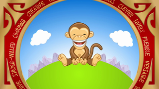 transcript: Year of the Monkey Monkeys are: Lively, Inventive, and Versatile,  They are Friendly,  They are also eager to be noticed. Have a Happy (and lively) Birthday