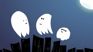 transcript: Voice:  You know, just because we are ghosts,  doesn't mean people have to be afraid of us all the time! I hear that. Hey guys! I've got an idea, check this out! Let's be the ghosts who don't say 'Boo', instead will say 'Boo' backwards. i like how your thinking? Oob  If we say Oob instead of Boo People won't be scared! What a super idea! Let's give it a shot! Oob!  Aaaahhh!!! It doesn't seem to be working! Oob!  Aaaahhh!!! We're still too scary looking! The new way doesn't pass the test  Old shool really is the best! we'll alway look too scary I guess... Now is back to saying....Booo!! Scared ya, huh? We're scary ghosts...!  Text:  Have a very scary, old school Halloween!