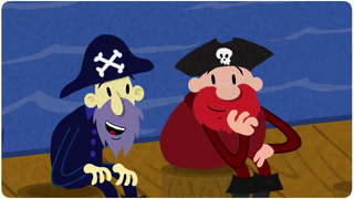 transcript: Voice:  I lost me crew, me gold, and worst of all, I lost me ship. Argh...I'm as low as Davy jones locker! Argh....Well, you always got me friendship. Ahh, I didn't know you cared, black heart!  Text:  It's in to be out!