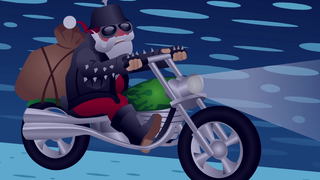 transcript: Voice:  Few people know, than when Mamma Claus, gave birth to Santa, she also gave birth to his twin brother.  And just like Santa, Christmas is his time to ride.  Not a sleigh, a Harley. He's Rocco Claus, and on Christmas Eve, he gives out presents too. Of course it's always beer, which, doesn't really work out that well. This Christmas, if he's not under house arrest, Rocco Claus rides again.  Text:  If someone tries to break in your back door on Christmas Eve, it's probably Rocco Claus.