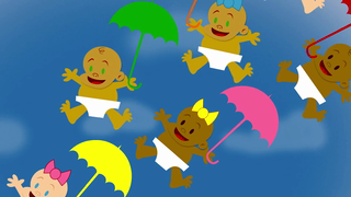 transcript: Wacky Weather  with Neil ''Nimbo'' Stratus  Song:  It's raining babies! Lots of babies! Baby love in the air! t's raining babies! Oh baby! Babies everywhere! It's raining babies! Lots of babies! Baby love in the air! It's raining babies! Oh baby! Babies everywhere!  Text:  Can you guess what our great news is? We're having a baby!