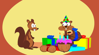 transcript: It's your birthday! Go nuts! Have a Happy Birthday! ...just don't go too nuts.