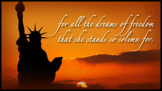 transcript: She's our lady liberty, whom all of us adore,