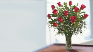 transcript: A flower bouquet, red roses.