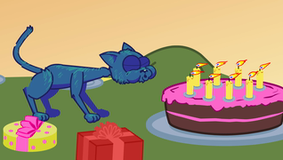 transcript: Hurley the Cat  in 'Not on the cake!' may your wishes come true! Happy Birthday!