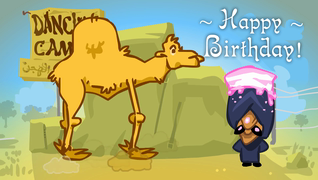 transcript: This is Habib. And that's his dancing camel! Habibs is the best dancing camel on the market. ...who can also juggle a birthday cake. He still needs more practice... Happy Birthday.