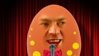 transcript: Easter Comedy Special with Eggy Murphy Voice: Thank you, thank you.. I...I wasn't gonna come here tonight, as the chicken got here first, or so he says... Oh I tell you, I love tv...and I just got cable installed, which is great. Well, actually, it's not that great... coz all the channels are still scrambled! Scrambled! Channels...! Just met a new girl...yeah, and things are going really well...yeah..! She's called Shelley....Shelley...! Just been offered a new job...yeah...in the catering industry...very exciting...yeah.. The guy, really keen to poach me! Poach me! Text: Happy Easter Hope you're spared anymore bad yolks! Jokes!